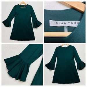 Trina Turk Green 8 Bell Sleeve Sheath Dress